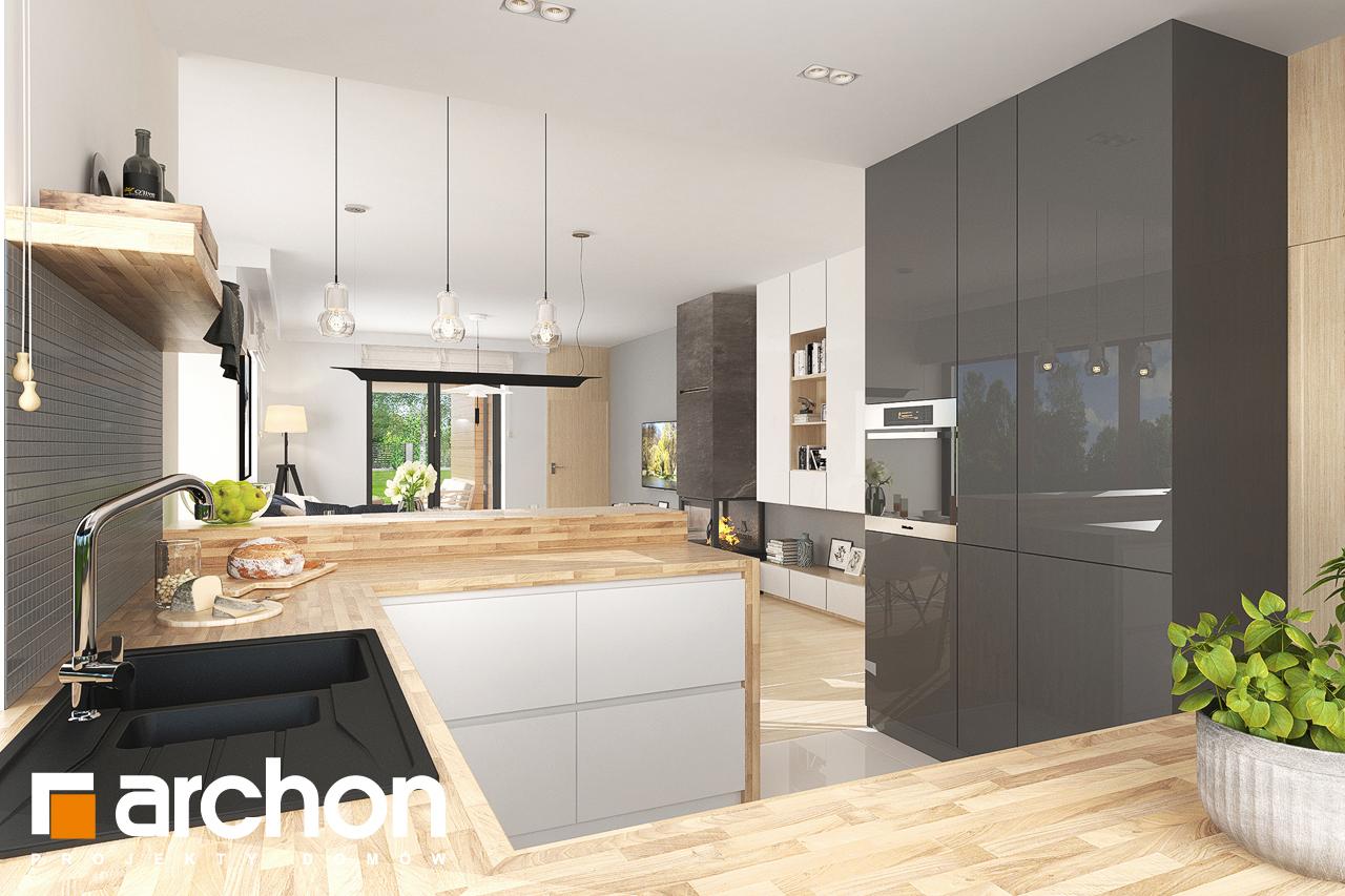 Проект будинку ARCHON+ Будинок в джонагольдах 4 (Г2) візуалізація кухні 1 від 2