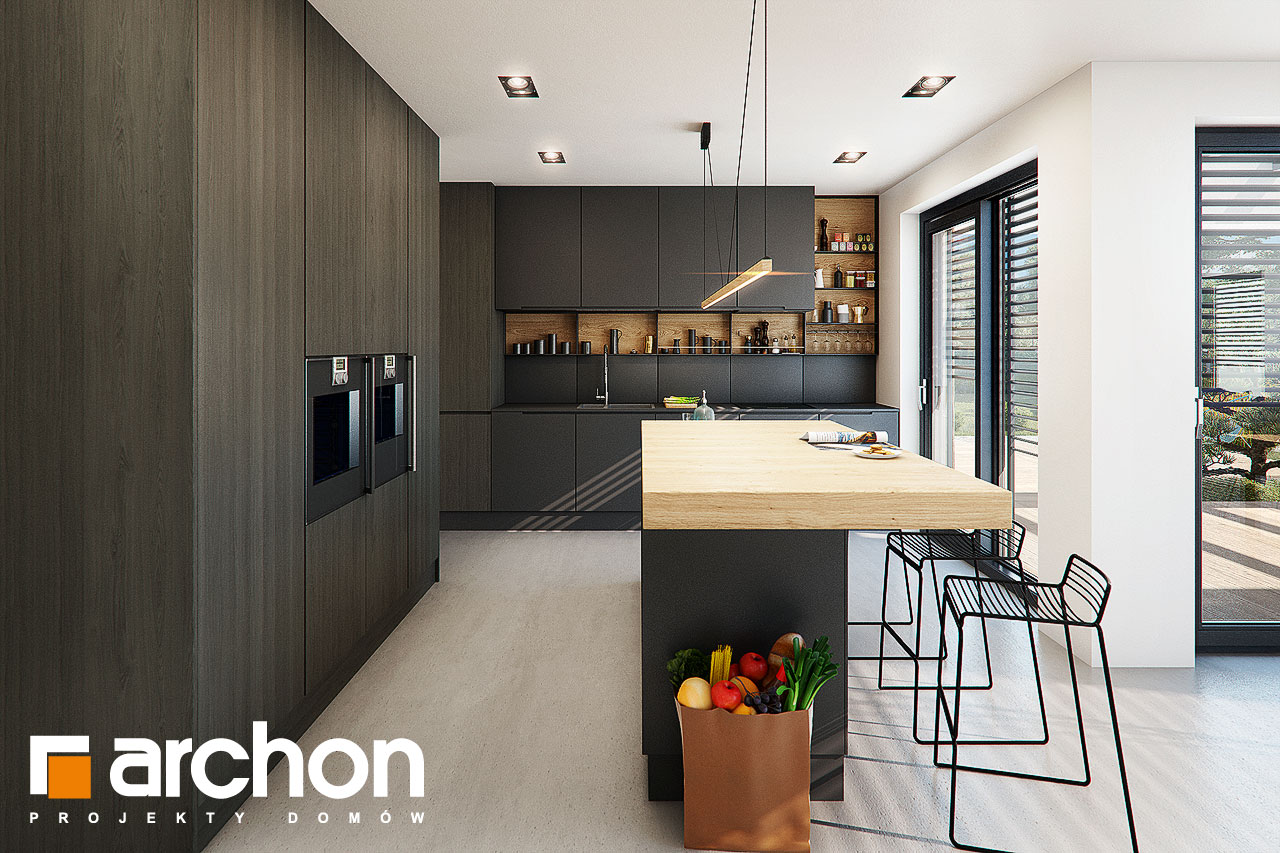 Проект дома ARCHON+ Дом в аромах (Г2) визуализация кухни 1 вид 1