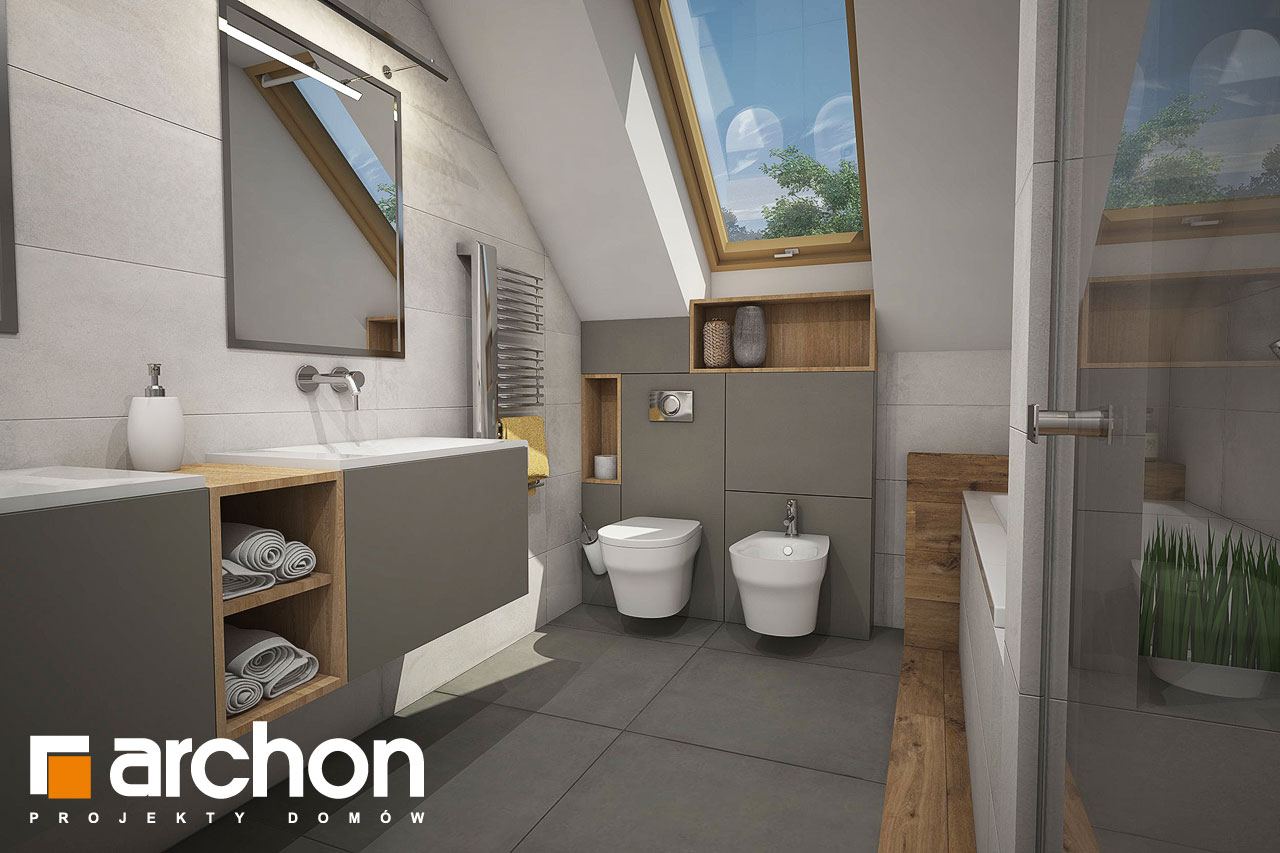 Проект будинку ARCHON+ Будинок в червоних кущах (Г2) візуалізація ванни (візуалізація 3 від 1)