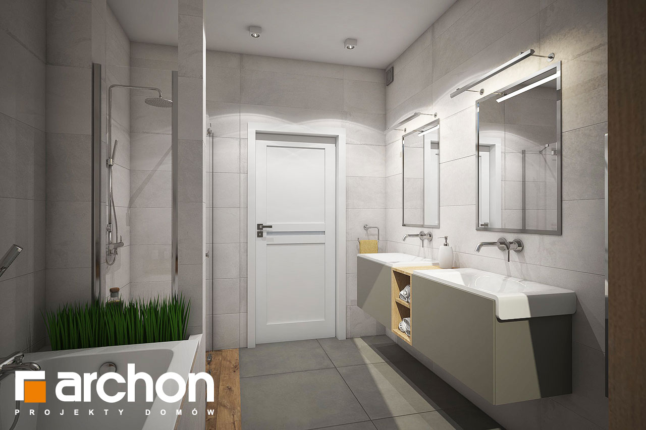 Проект будинку ARCHON+ Будинок в червоних кущах (Г2) візуалізація ванни (візуалізація 3 від 3)