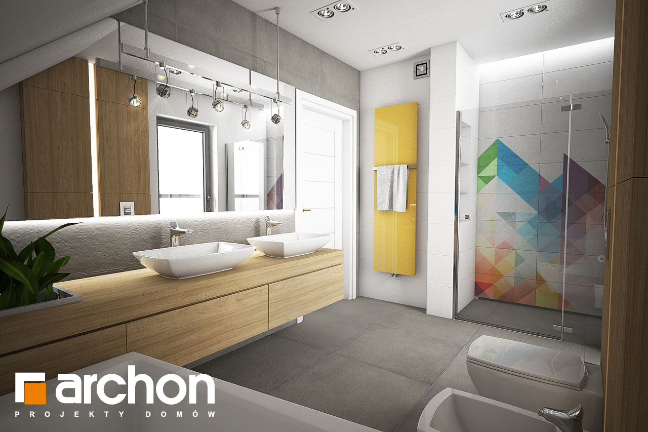Проект дома ARCHON+ Дом в малиновках (Т) визуализация ванной (визуализация 3 вид 1)