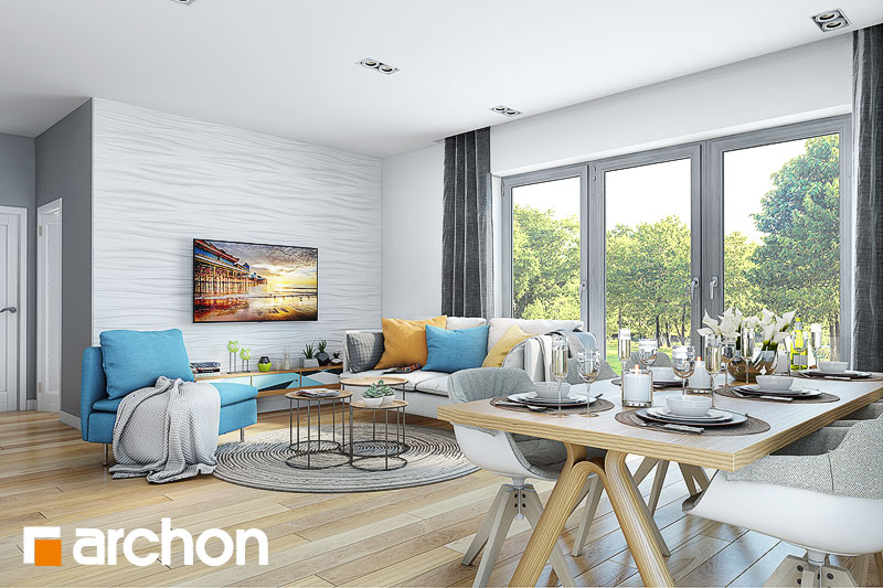 Проект дома ARCHON+ Дом в малиновках (Т) дневная зона (визуализация 1 вид 1)