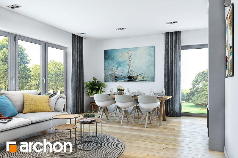 Проект дома ARCHON+ Дом в малиновках (Т) дневная зона (визуализация 1 вид 2)