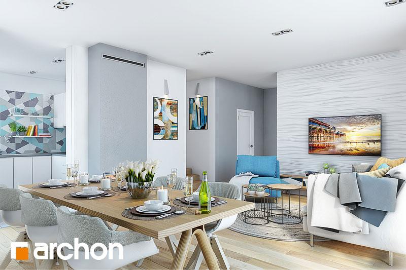 Проект дома ARCHON+ Дом в малиновках (Т) дневная зона (визуализация 1 вид 3)