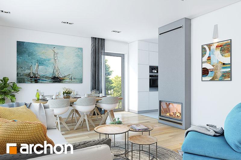 Проект дома ARCHON+ Дом в малиновках (Т) дневная зона (визуализация 1 вид 4)