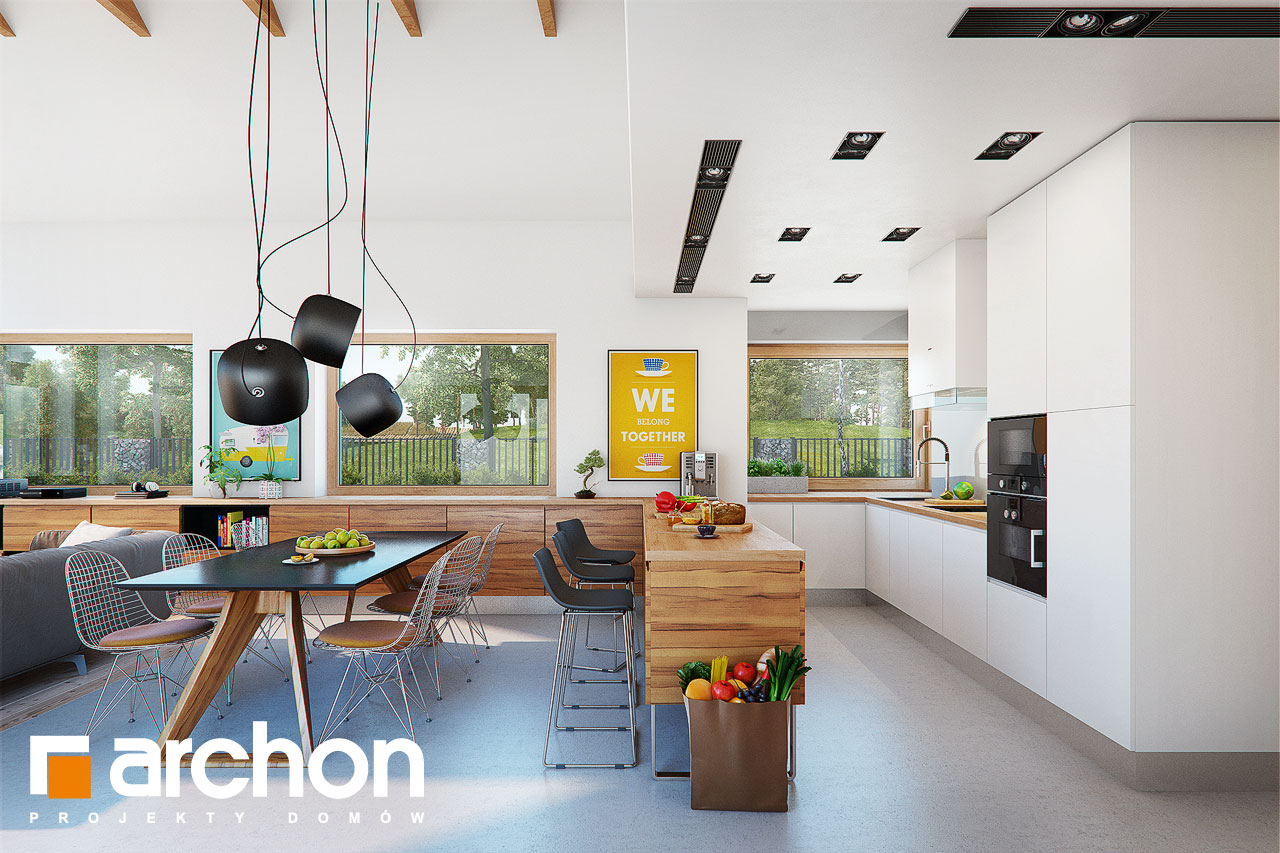 Проект будинку ARCHON+ Будинок в мажанках денна зона (візуалізація 1 від 2)
