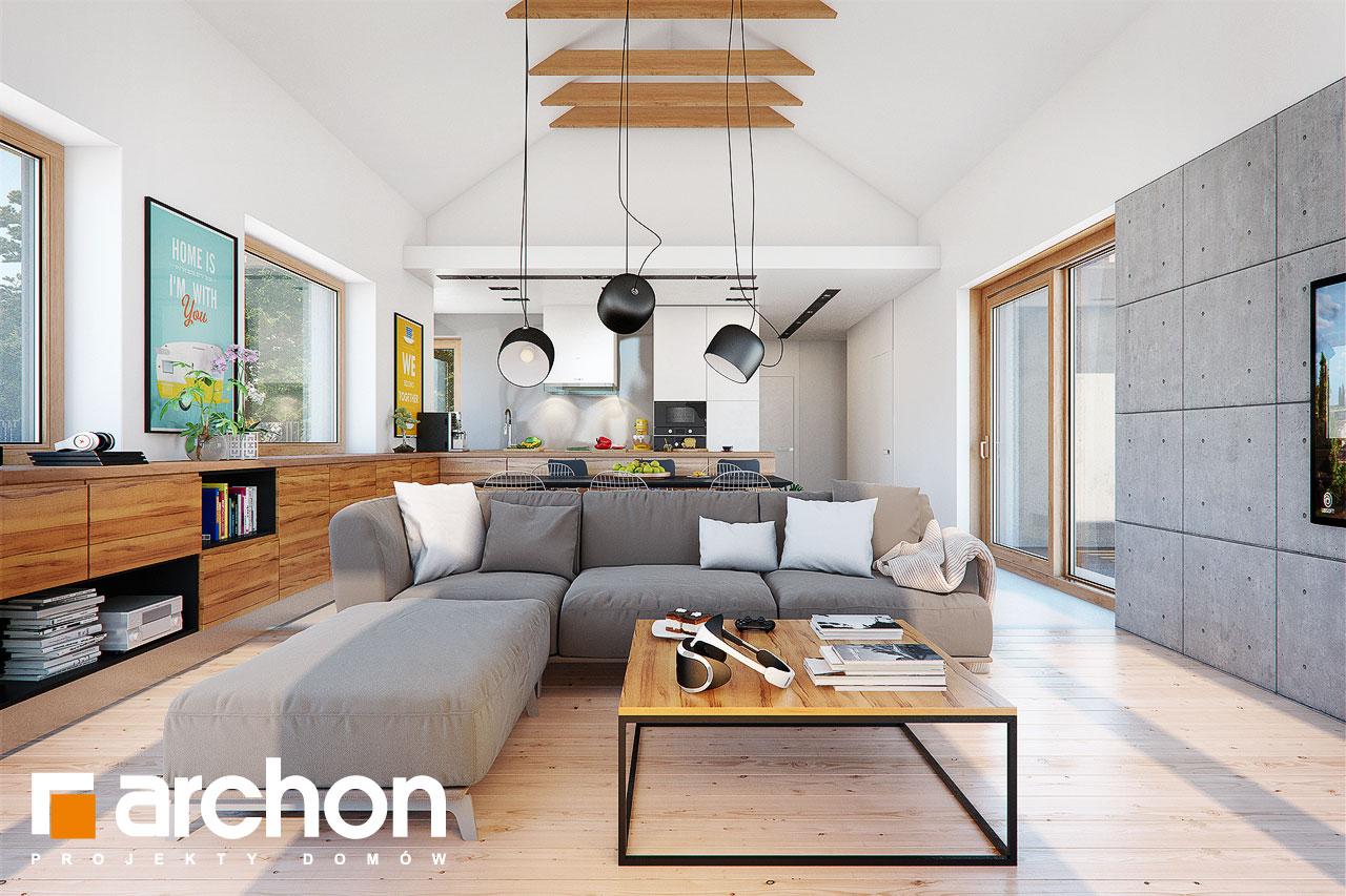 Проект дома ARCHON+ Дом в мажанках  дневная зона (визуализация 1 вид 1)