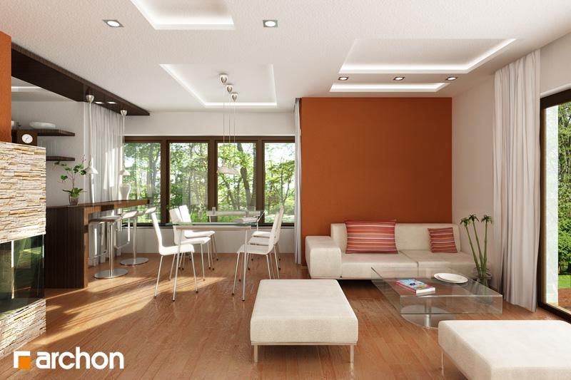 Проект дома ARCHON+ Дом в кардамоне 2 дневная зона (визуализация 1 вид 1)