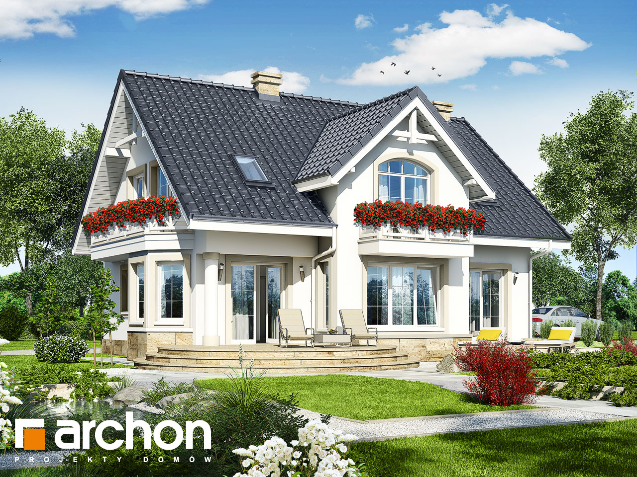 Проект будинку ARCHON+ Будинок в мірабеллі (П) Вид 2