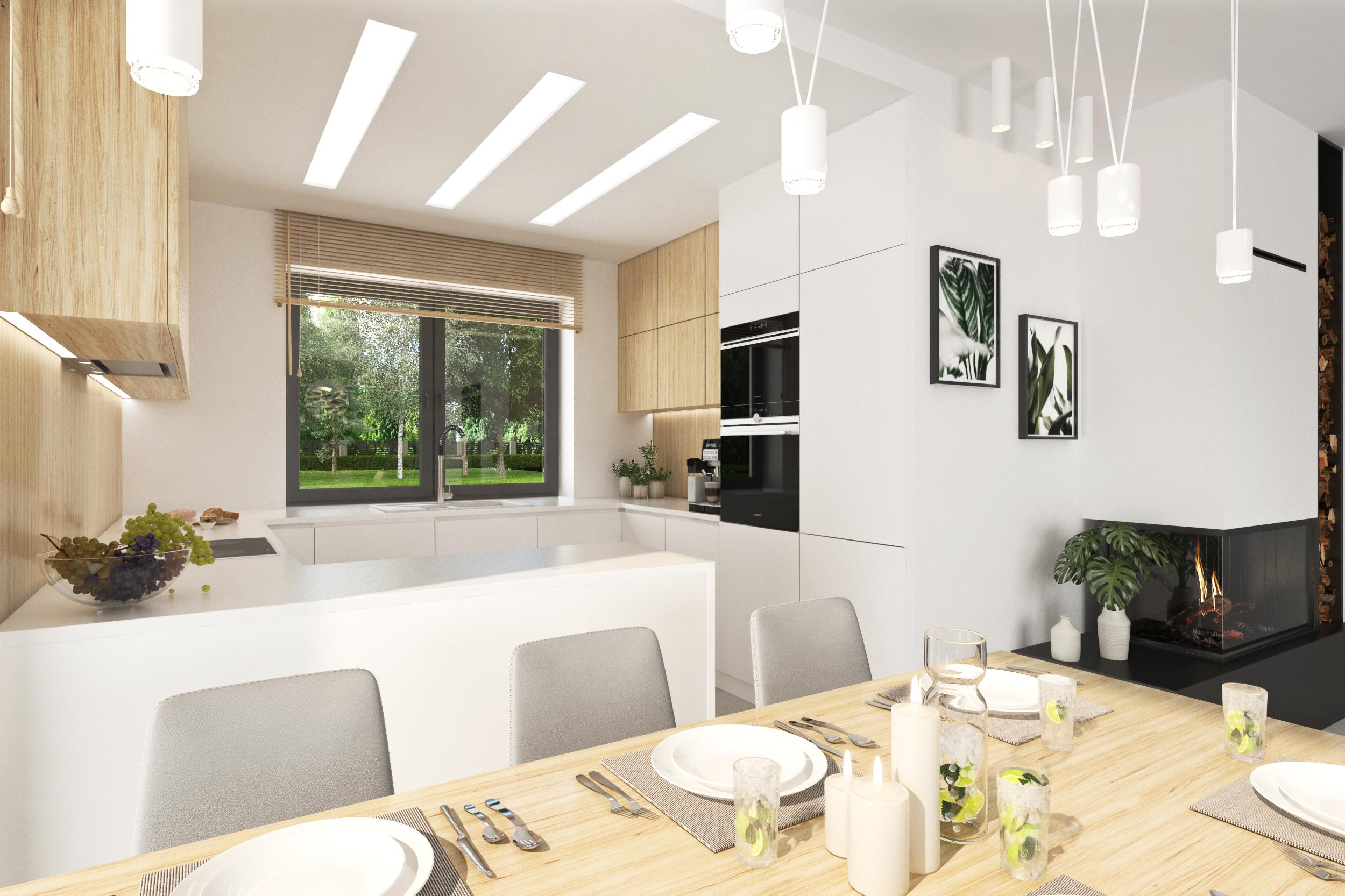 Проект будинку ARCHON+ Будинок у вівсянниці 4 візуалізація кухні 1 від 2