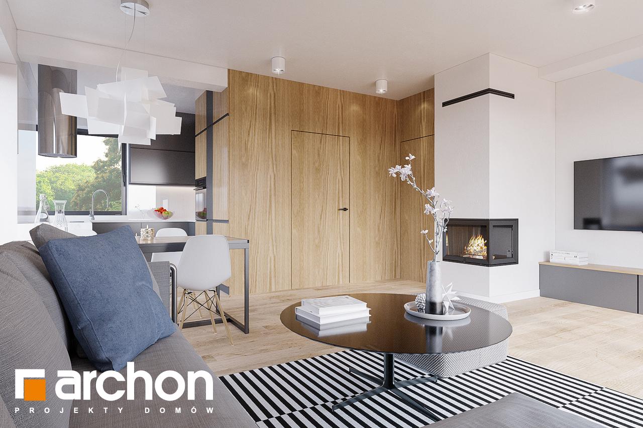 Проект будинку ARCHON+ Будинок в брусниці (ГН) денна зона (візуалізація 1 від 4)