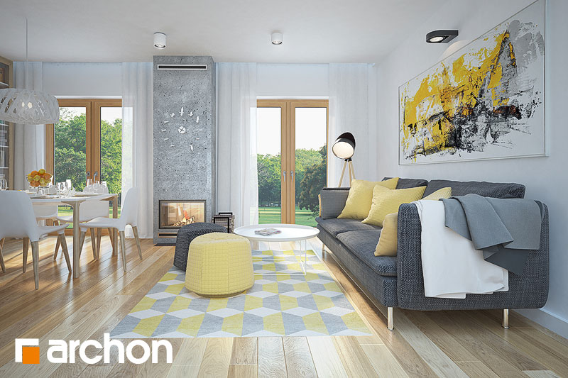 Проект будинку ARCHON+ Будинок в сон-траві (А) денна зона (візуалізація 1 від 3)