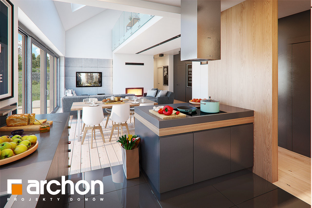 Проект будинку ARCHON+ Будинок в бетуліях візуалізація кухні 1 від 2