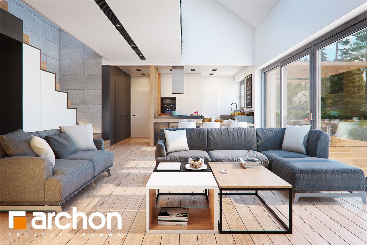 Проект будинку ARCHON+ Будинок в бетуліях денна зона (візуалізація 1 від 3)