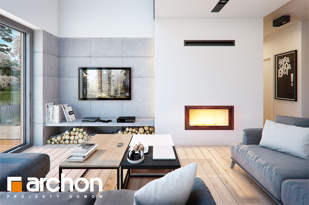 Проект будинку ARCHON+ Будинок в бетуліях денна зона (візуалізація 1 від 4)