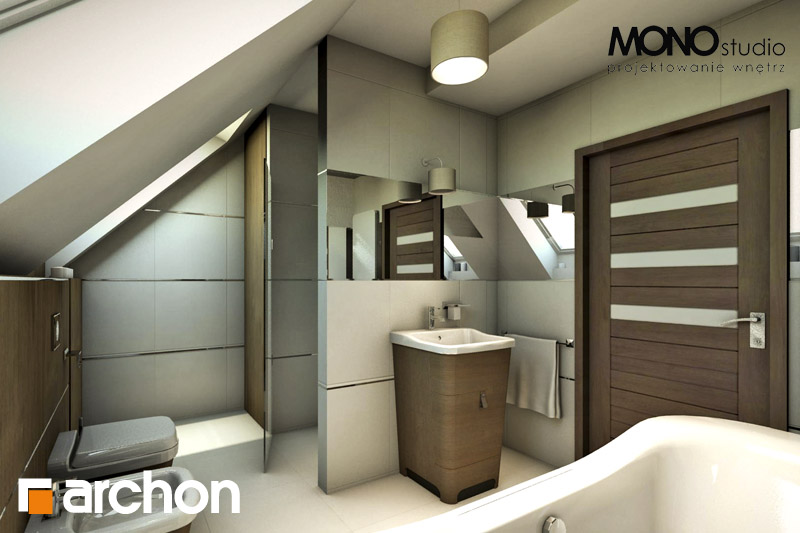 Проект будинку ARCHON+ Будинок в журавках вер.2 візуалізація ванни (візуалізація 1 від 2)