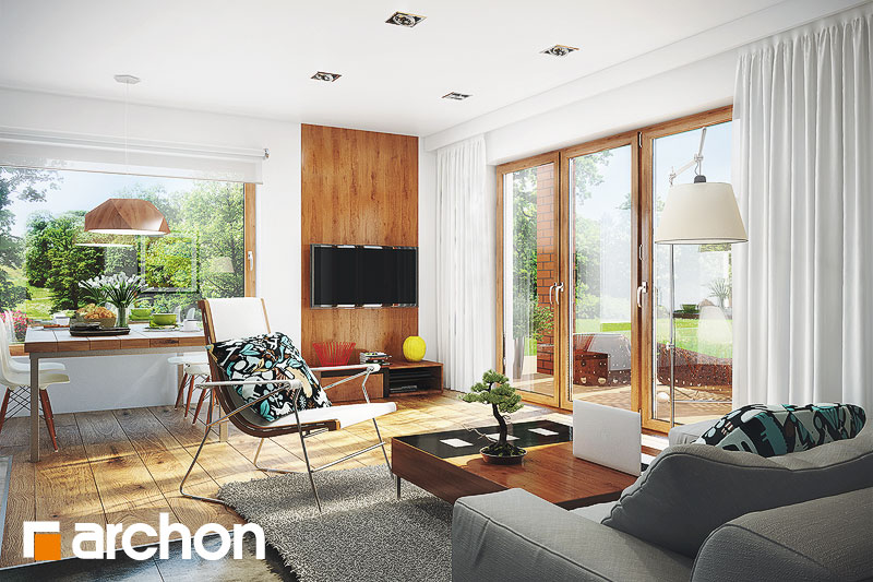 Проект будинку ARCHON+ Будинок в журавках вер.2 денна зона (візуалізація 1 від 2)
