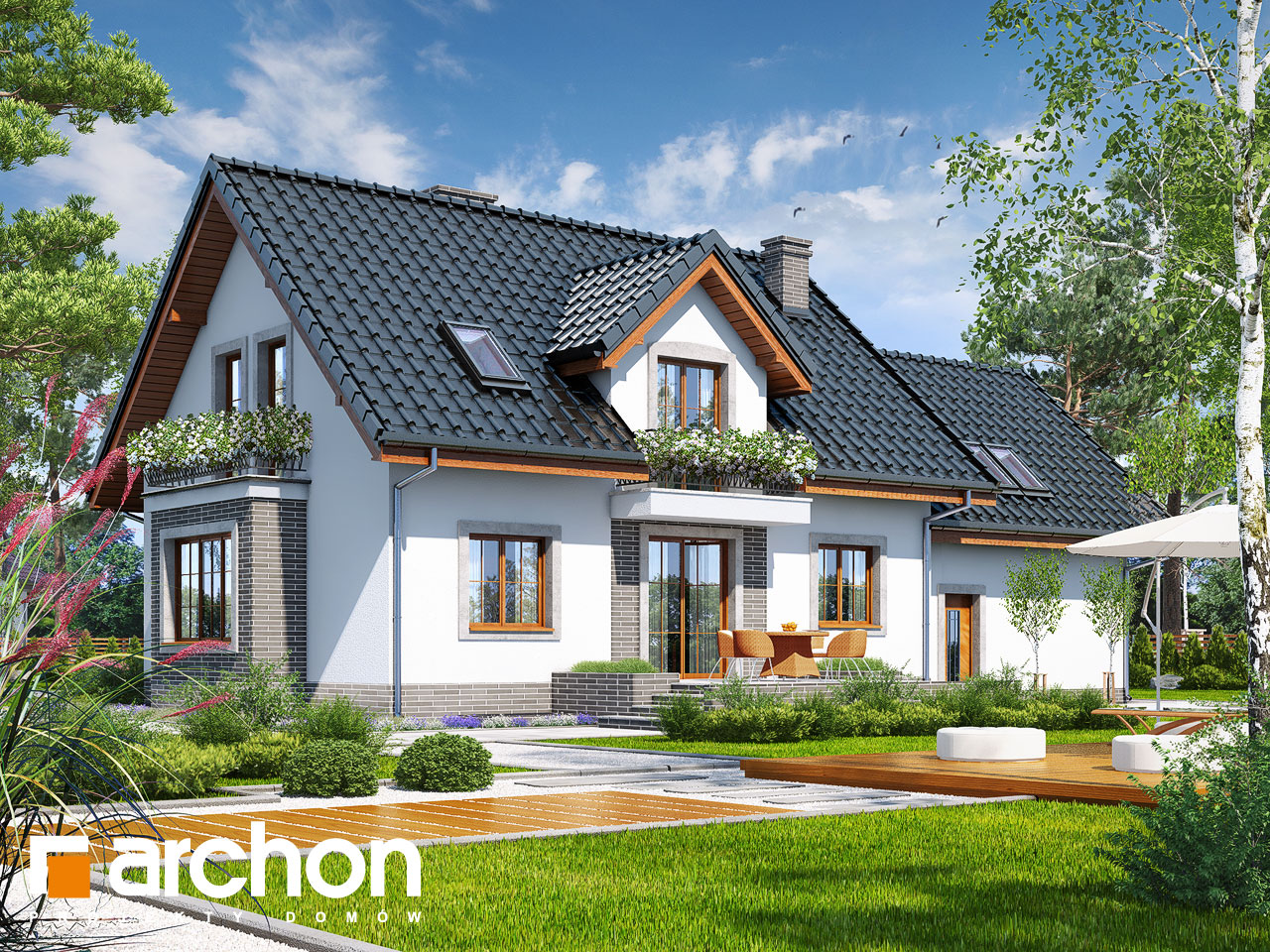 Проект будинку ARCHON+ Будинок в вербенах 5 (Г2П) Вид 2