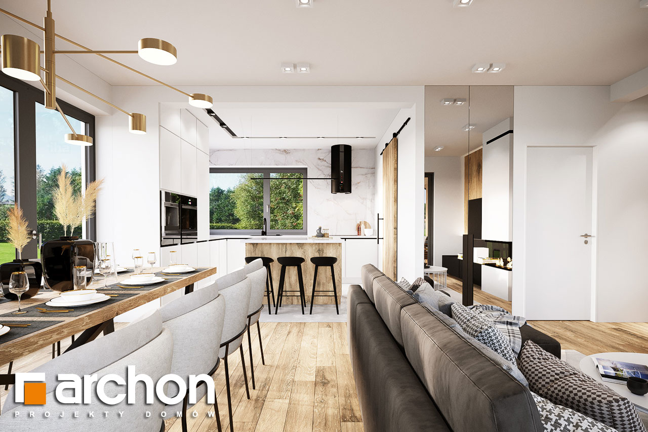 Проект будинку ARCHON+ Будинок в барбарисах 2 (Г2) денна зона (візуалізація 1 від 5)