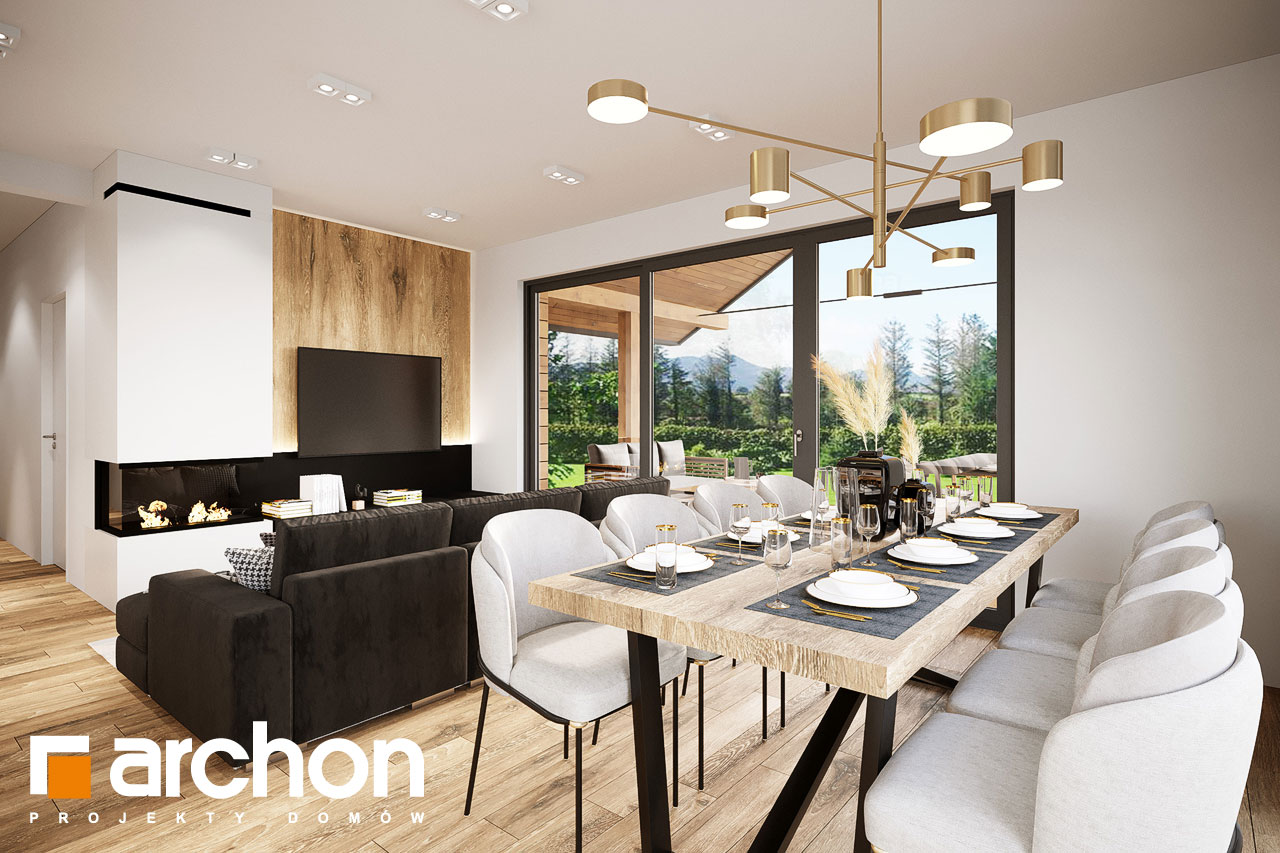 Проект будинку ARCHON+ Будинок в барбарисах 2 (Г2) денна зона (візуалізація 1 від 6)