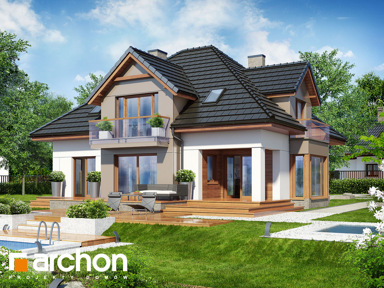 Проект будинку ARCHON+ Будинок в нагетках 2 (Н) Вид 2