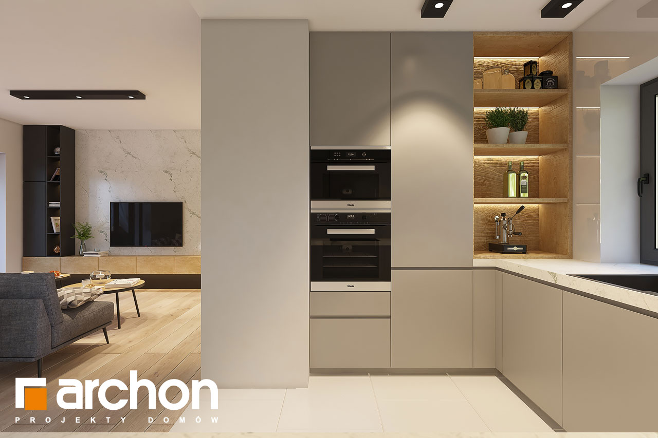 Проект будинку ARCHON+ Будинок в коручках 4 візуалізація кухні 1 від 2