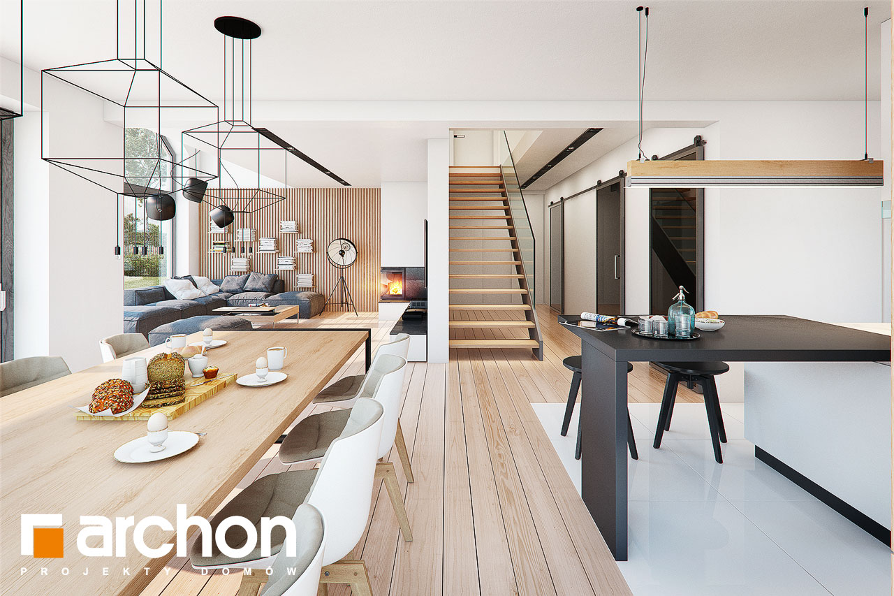 Проект дома ARCHON+ Дом в фелициях (Г2) дневная зона (визуализация 1 вид 4)