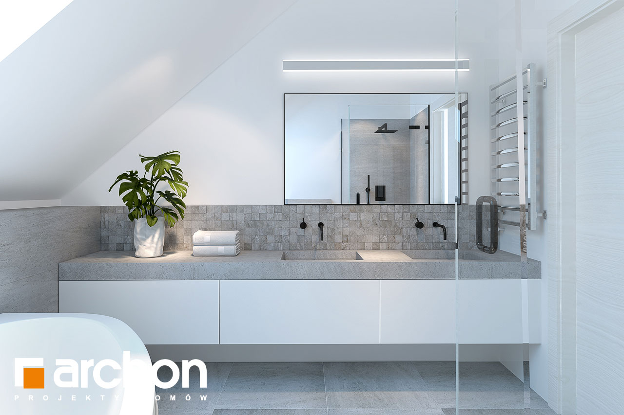 Проект будинку ARCHON+ Будинок у гвоздиках візуалізація ванни (візуалізація 3 від 2)