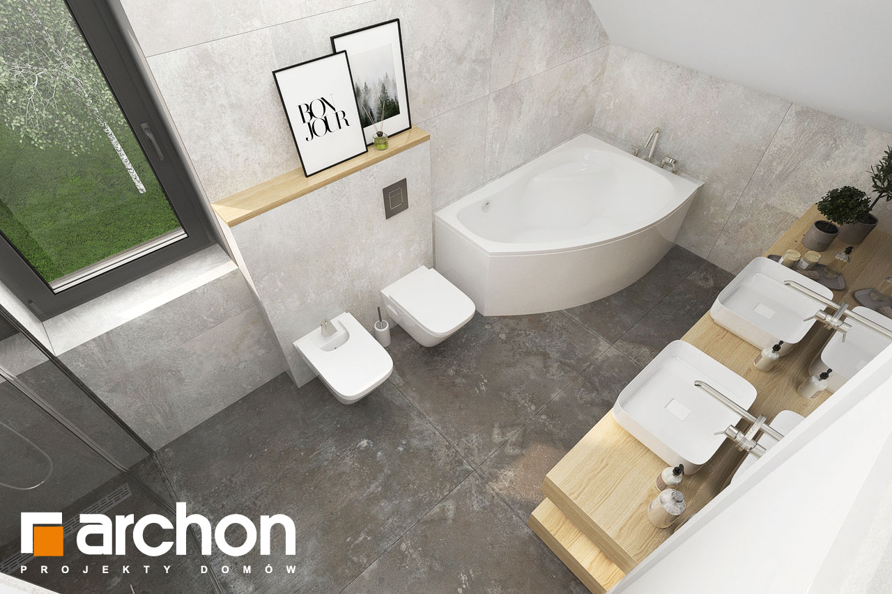 Проект будинку ARCHON+ Будинок в малинівці 14 візуалізація ванни (візуалізація 3 від 4)
