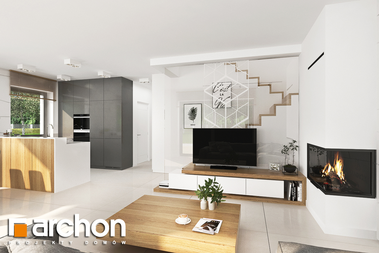 Проект будинку ARCHON+ Будинок у клематисах 27 (Б) денна зона (візуалізація 1 від 3)