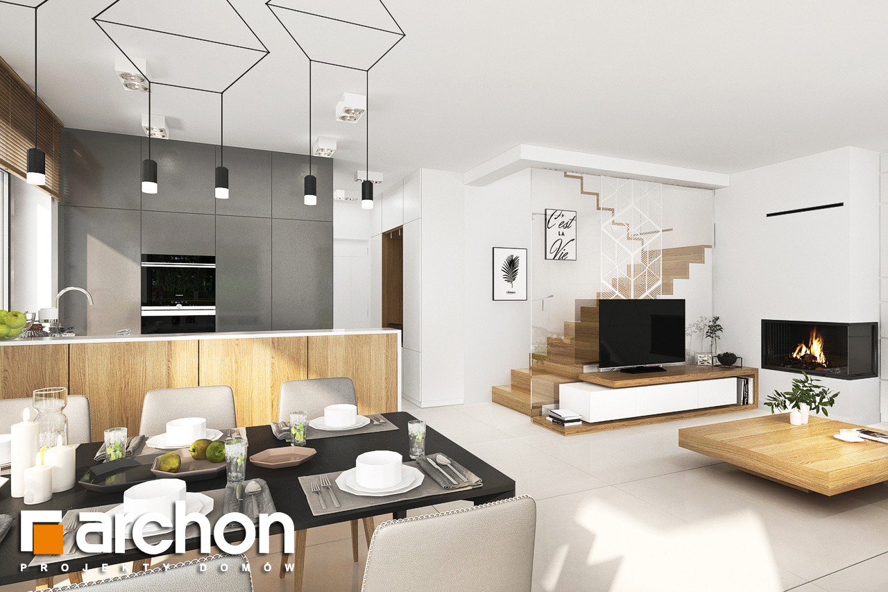 Проект дома ARCHON+ Дом в клематисах 27 (Б) дневная зона (визуализация 1 вид 1)