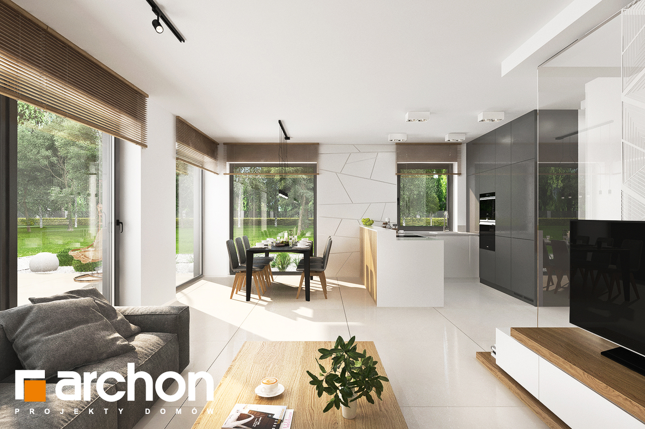 Проект дома ARCHON+ Дом в клематисах 27 (Б) дневная зона (визуализация 1 вид 5)