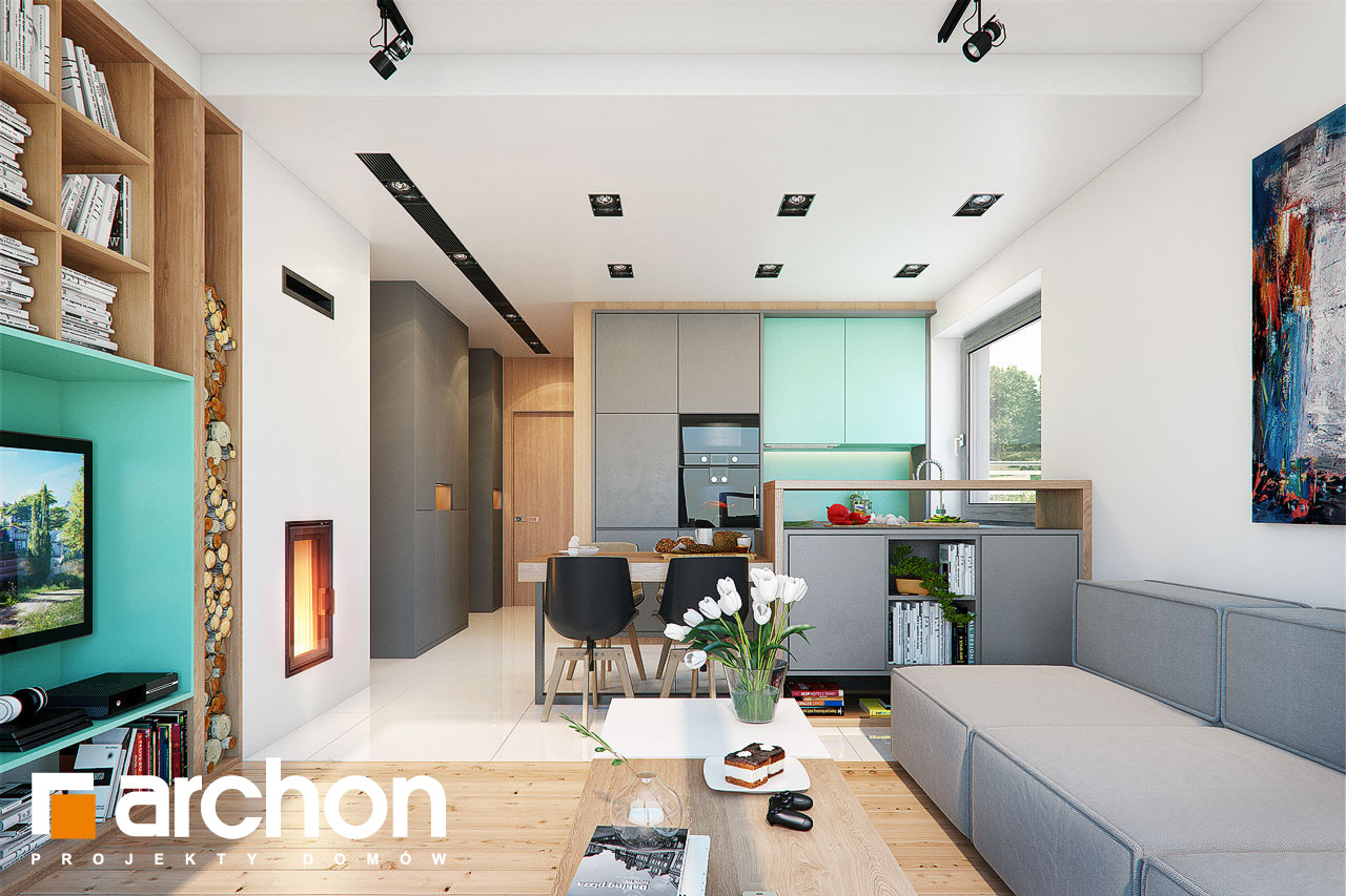 Проект дома ARCHON+ ДОМ В ТУНБЕРГИЯХ 4 (Б) дневная зона (визуализация 1 вид 1)