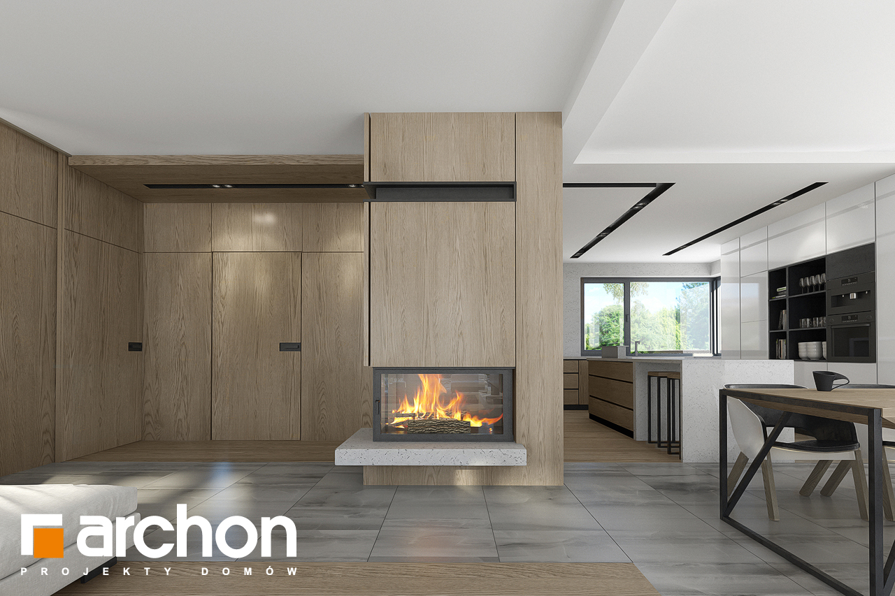 Проект будинку ARCHON+ Будинок в підсніжниках 2 (Г2) денна зона (візуалізація 1 від 3)