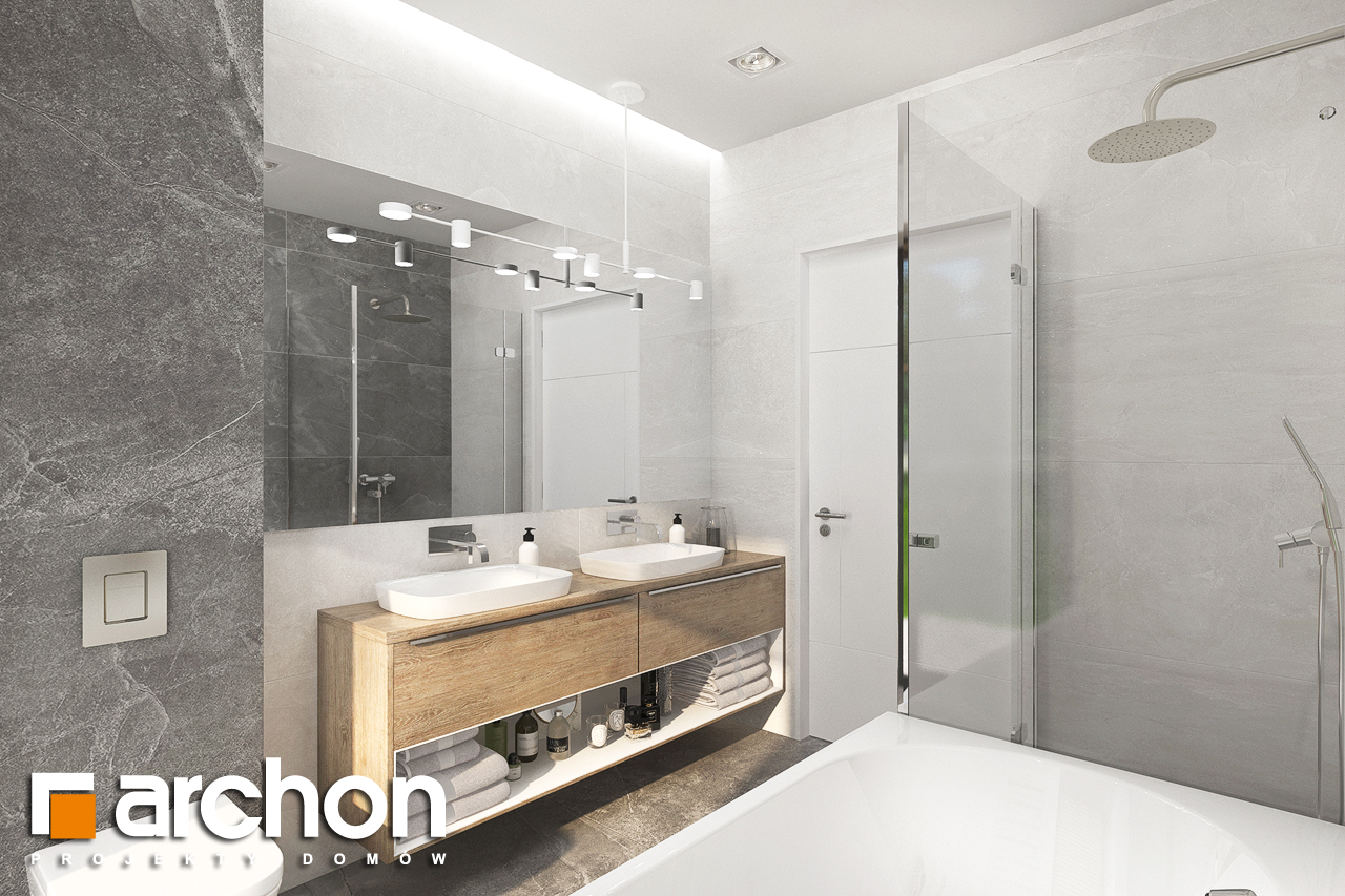 Проект будинку ARCHON+ Будинок в сантанах візуалізація ванни (візуалізація 3 від 1)