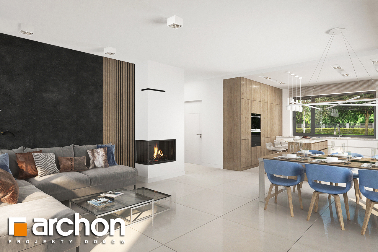 Проект будинку ARCHON+ Будинок в сантанах денна зона (візуалізація 1 від 4)