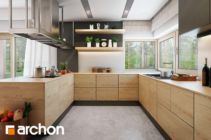Проект дома ARCHON+ Дом под красной рябиной 17 (НТ) визуализация кухни 1 вид 1