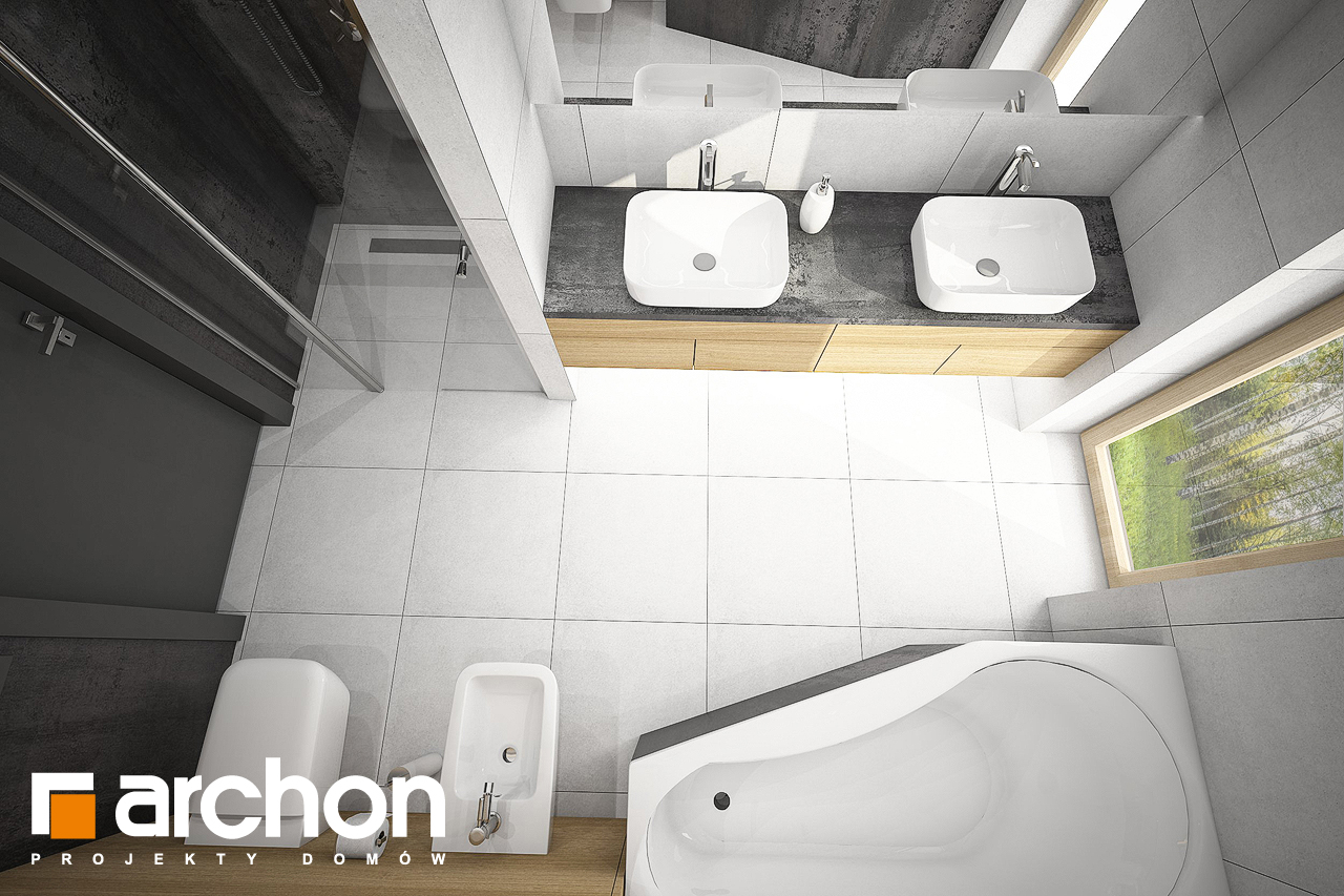 Проект будинку ARCHON+ Будинок під червоною горобиною 17 (НТ) візуалізація ванни (візуалізація 3 від 4)