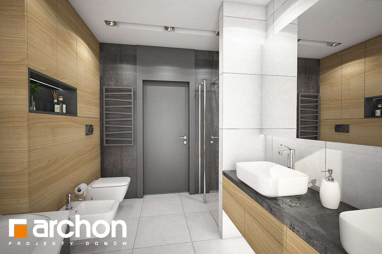Проект дома ARCHON+ Дом под красной рябиной 17 (НТ) визуализация ванной (визуализация 3 вид 3)