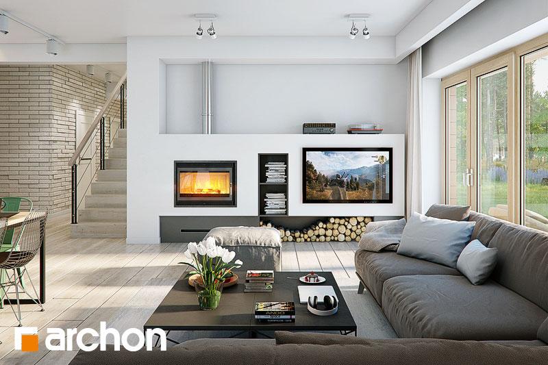 Проект дома ARCHON+ Дом под красной рябиной 17 (НТ) дневная зона (визуализация 1 вид 1)