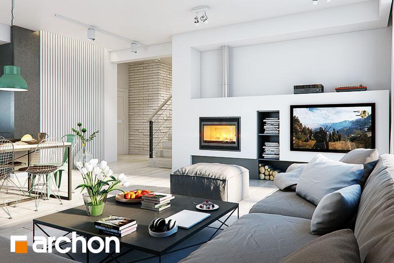 Проект дома ARCHON+ Дом под красной рябиной 17 (НТ) дневная зона (визуализация 1 вид 2)