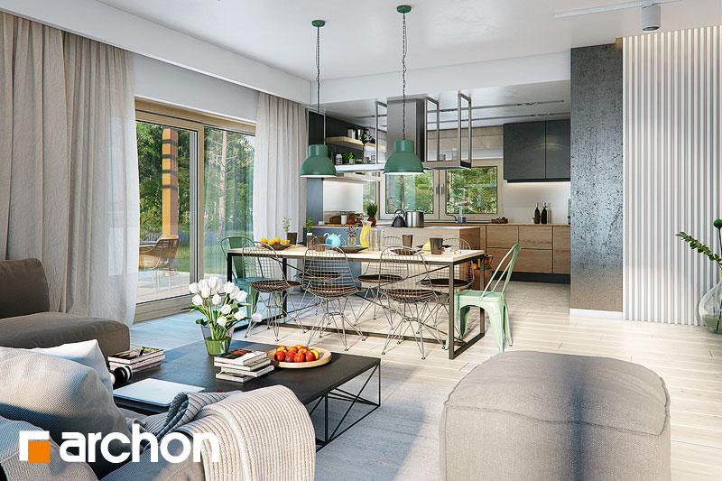 Проект дома ARCHON+ Дом под красной рябиной 17 (НТ) дневная зона (визуализация 1 вид 3)
