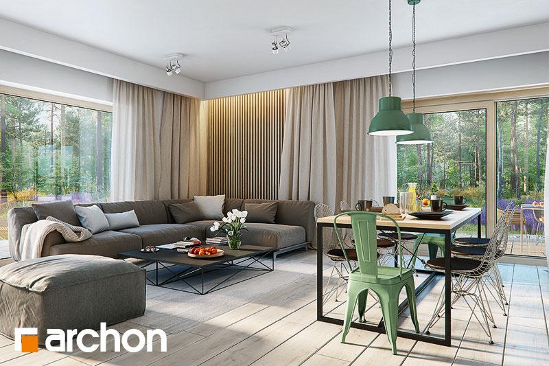 Проект дома ARCHON+ Дом под красной рябиной 17 (НТ) дневная зона (визуализация 1 вид 4)