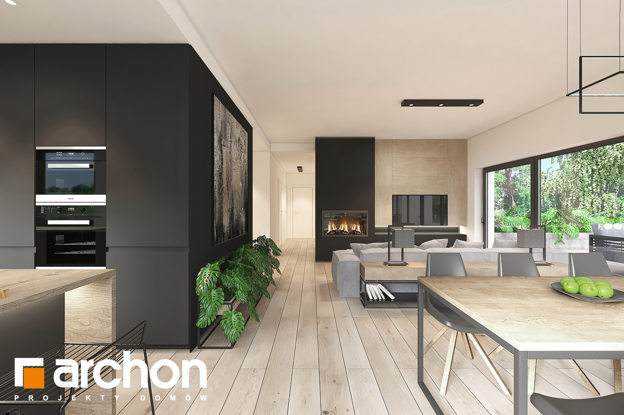 Проект будинку ARCHON+ Будинок в нарахнілах денна зона (візуалізація 1 від 2)
