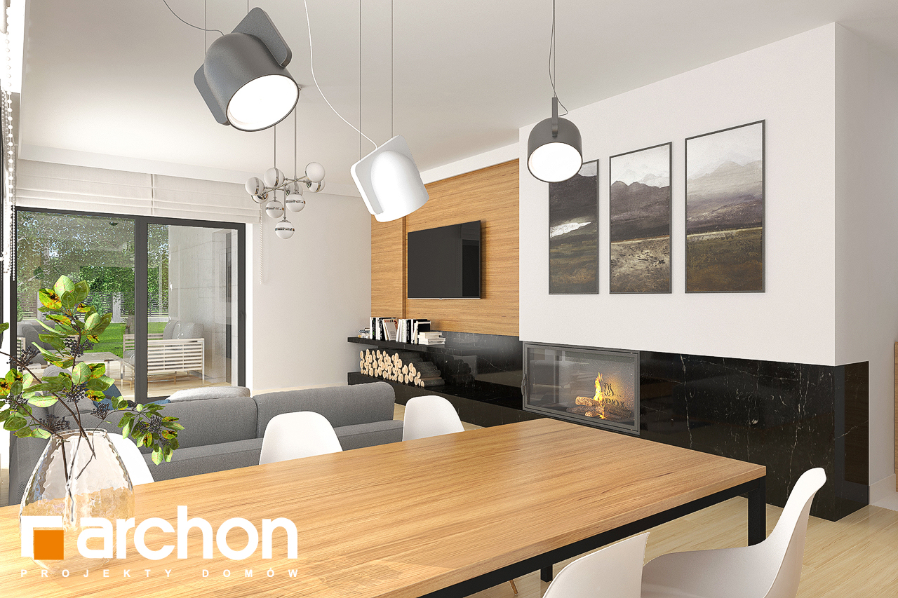 Проект будинку ARCHON+ Будинок в хакетіях 4 (Г2) денна зона (візуалізація 1 від 5)