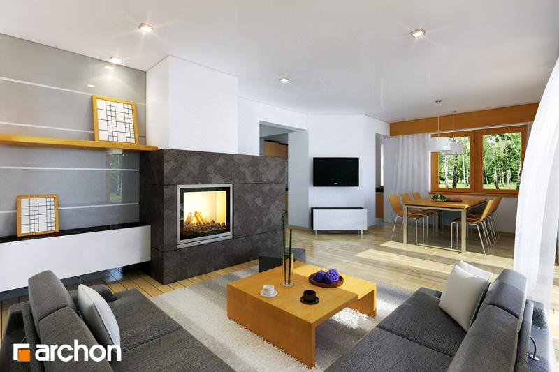 Проект дома ARCHON+ Дом в ананасах ver.2 дневная зона (визуализация 1 вид 1)