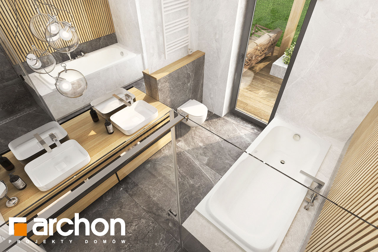 Проект будинку ARCHON+ Будинок в коручках 5 візуалізація ванни (візуалізація 3 від 4)