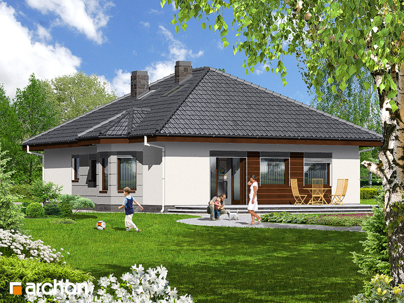 Проект будинку ARCHON+ Будинок при потоці стилізація 4