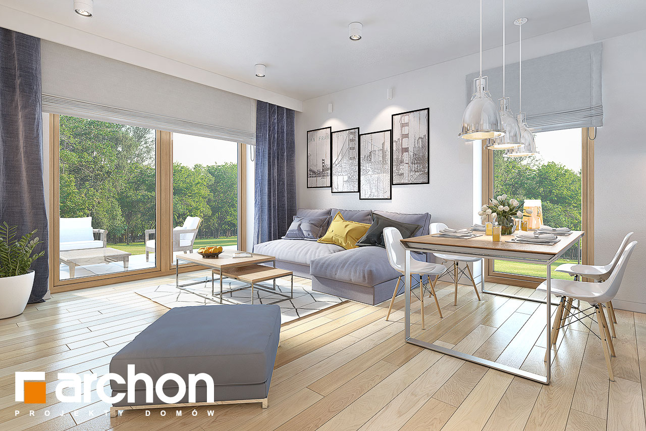 Проект будинку ARCHON+ Будинок у вівсянниці (Г) денна зона (візуалізація 1 від 2)