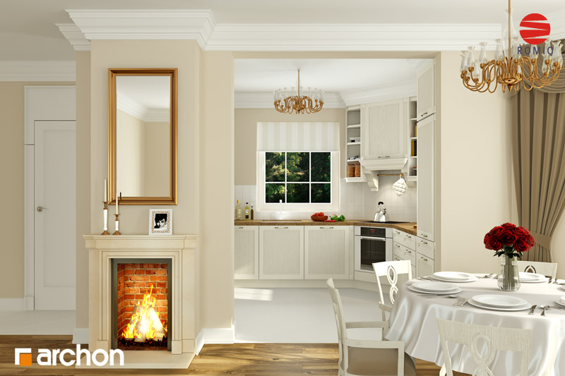 Проект будинку ARCHON+ Будинок в рододендронах 6 аранжування кухні 1 від 3
